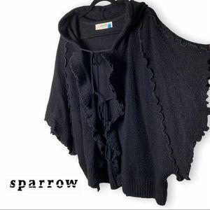 Sparrow Anthropologie Black Wool Ruffled Hooded 3 Tie Cardigan